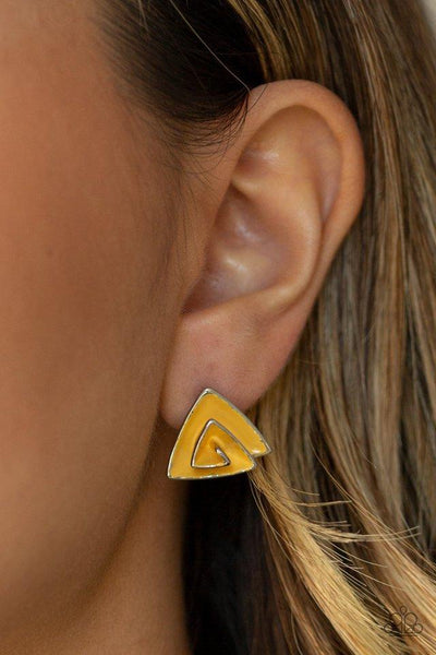 Paparazzi On Blast Yellow Post Earrings