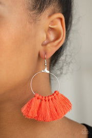 Peruvian Princess - Orange Coral Tassel Paparazzi Jewelry Earrings - Glitzygals5dollarbling Paparazzi Boutique