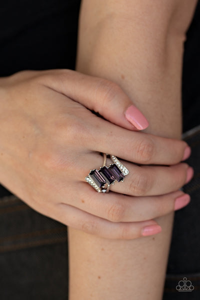 Paparazzi Triple Razzle Purple Rhinestone Ring - Glitzygals5dollarbling Paparazzi Boutique
