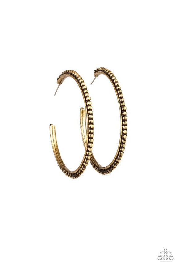 Totally on Trend - brass - Paparazzi earrings