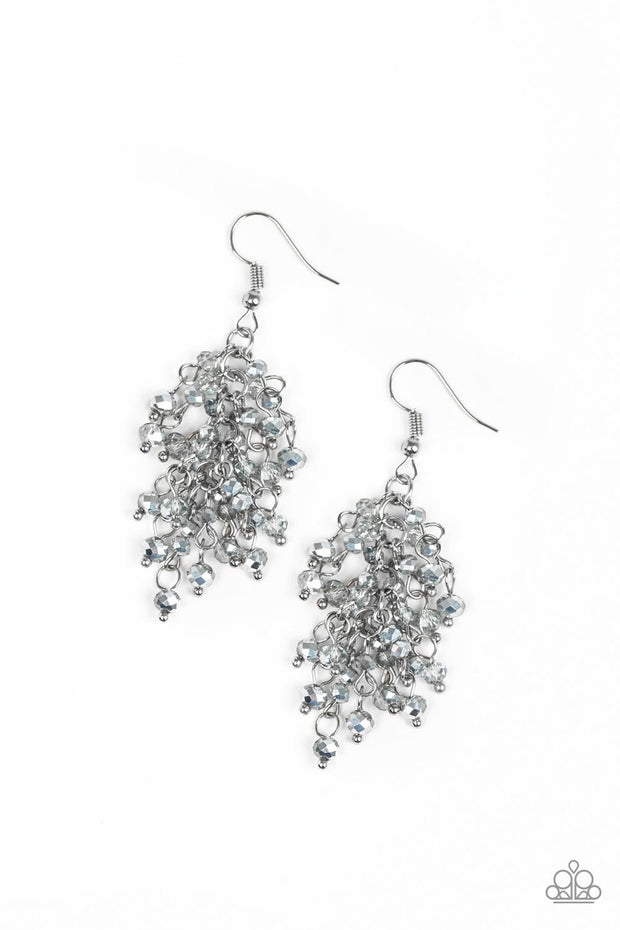 Paparazzi A Taste Of Twilight - Silver - Sparkling Fringe - Earrings