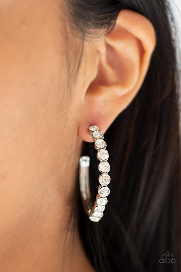 Paparazzi My Kind Of Shine - White - Rhinestones - Silver Post Hoop Earrings - Glitzygals5dollarbling Paparazzi Boutique