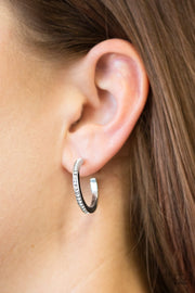 Paparazzi Hoop Haven White Earrings - Glitzygals5dollarbling Paparazzi Boutique