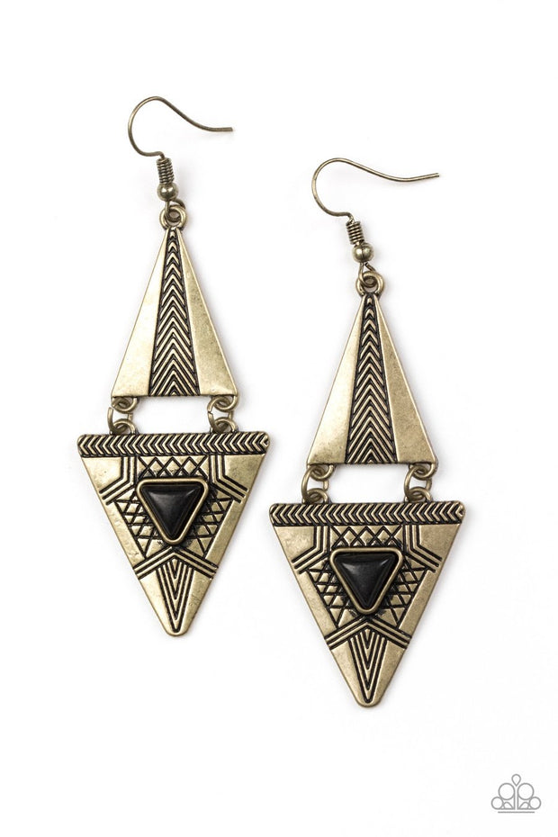 Paparazzi El Paso Edge - Brass - Black Stone - Triangular Frames Earrings - Glitzygals5dollarbling Paparazzi Boutique