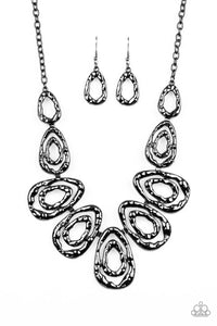 Paparazzi Terra Couture - Black - Gunmetal Teardrops - Necklace and matching Earrings
