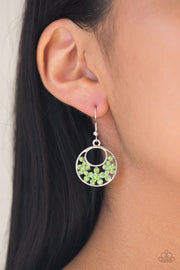 Paparazzi Sugary Shine - Green Rhinestones - Silver Hoop Earrings - Glitzygals5dollarbling Paparazzi Boutique