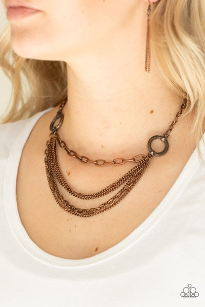 Paparazzi Accessories CHAINS of Command Copper Necklace - Glitzygals5dollarbling Paparazzi Boutique