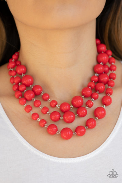 Paparazzi Everyone Scatter! - Red Necklace - Glitzygals5dollarbling Paparazzi Boutique