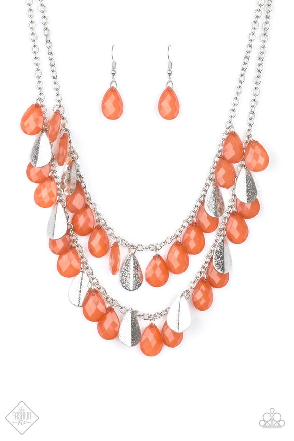 Paparazzi Life of the FIESTA Orange Necklace Fashion Fix Exclusive