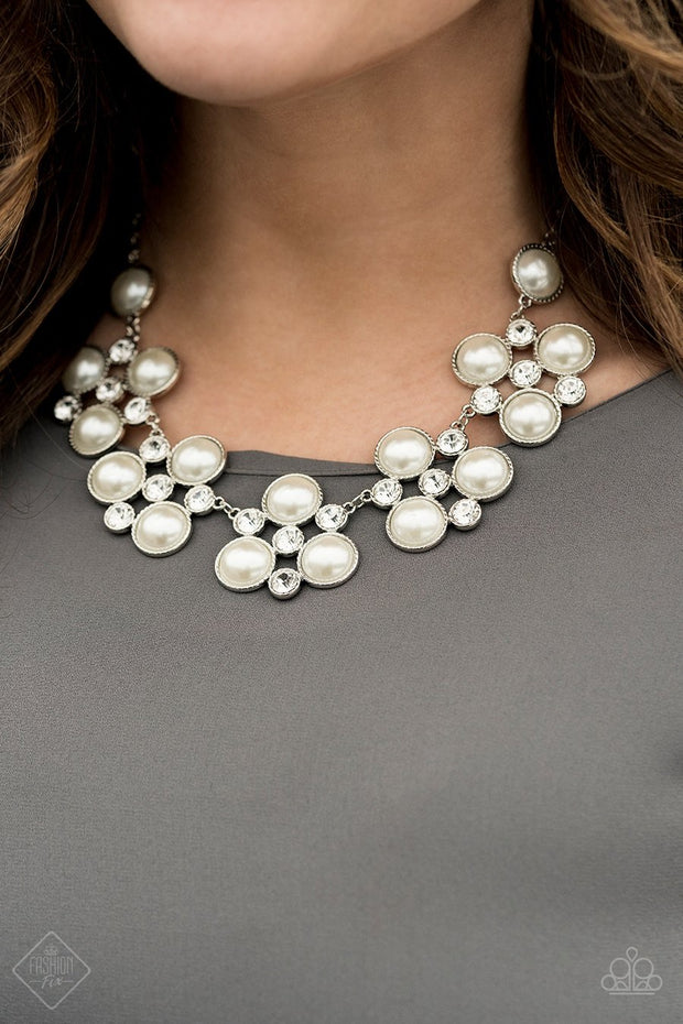 Paparazzi Night at the Symphony - White Pearls - Necklace & Earrings - Fashion Fix / Trend Blend Exclusive April 2020 - Glitzygals5dollarbling Paparazzi Boutique