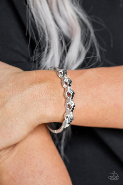 Paparazzi Infinite Sparkle - Black Hinged Bracelet - Glitzygals5dollarbling Paparazzi Boutique