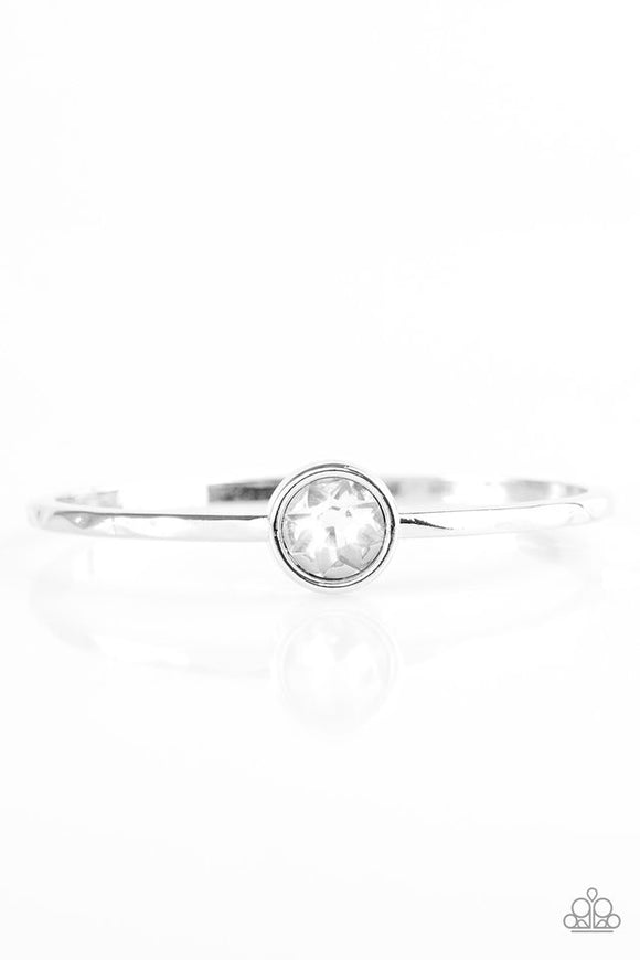 "Paparazzi ""Diamonds For Breakfast"" White Bracelet Bangle"