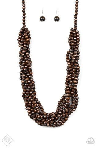 Tahiti Tropic Brown Wood Bead Necklace Paparazzi Accessories Fashion Fix Exclusive