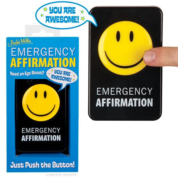 Archie McPhee - Emergency Affirmation Button | Cookie Jar - Home of the Coolest Gifts, Toys & Collectables