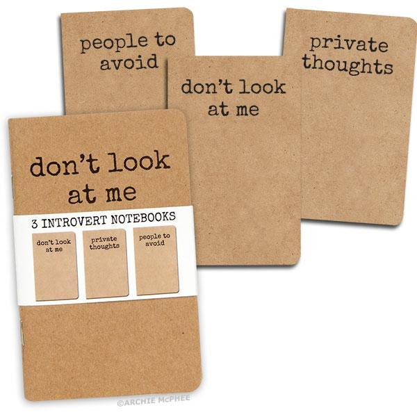 Archie McPhee - Set Of 3 Introvert Notebooks | Cookie Jar - Home of the Coolest Gifts, Toys & Collectables