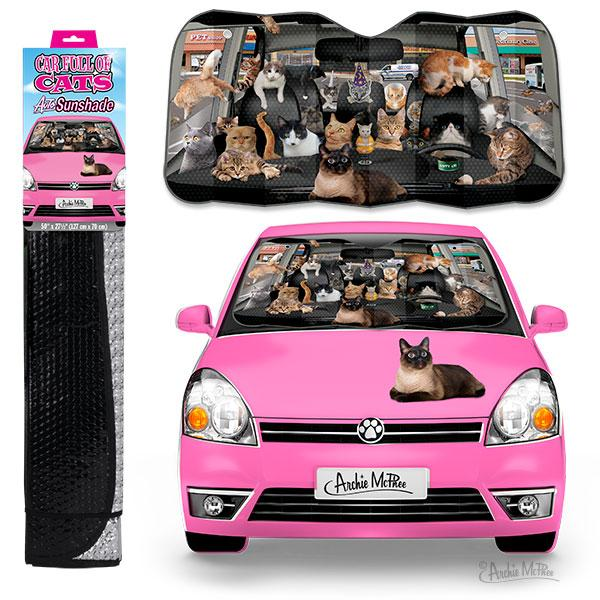 Archie McPhee - Car Full Of Cats Auto Sunshade | Cookie Jar - Home of the Coolest Gifts, Toys & Collectables