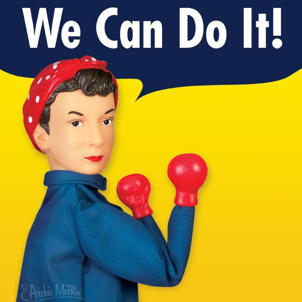 Archie McPhee - Rosie The Riveter Punching Puppet | Cookie Jar - Home of the Coolest Gifts, Toys & Collectables