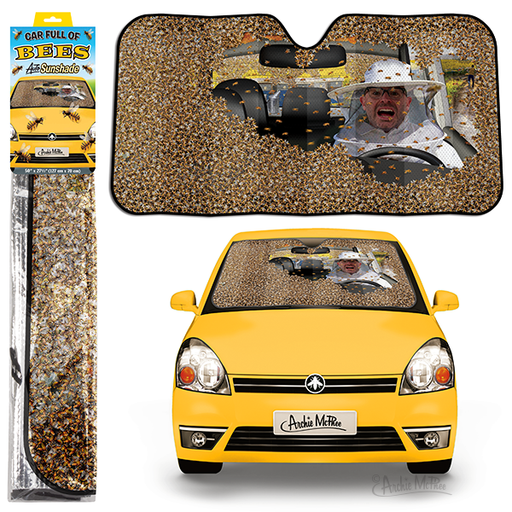 Archie McPhee - Car Full Of Bees Auto Sunshade | Cookie Jar - Home of the Coolest Gifts, Toys & Collectables