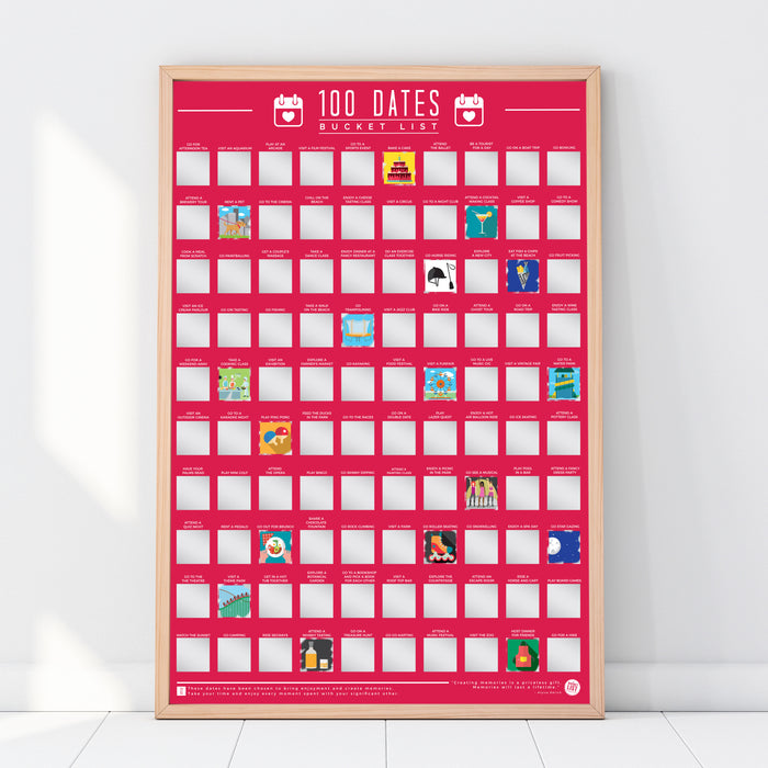 Bucket List Scratch Poster - 100 Dates To Go On