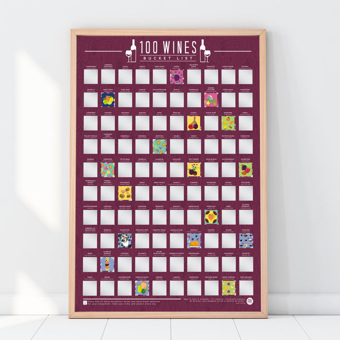 Bucket List Scratch Poster - 100 Wines