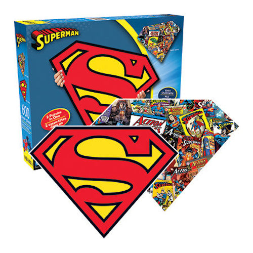 DC Comics Superman Logo & Collage Double Sided 600pc Puzzle | Cookie Jar - Home of the Coolest Gifts, Toys & Collectables