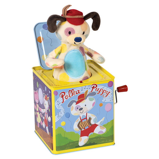 Schylling - Polka Puppy Jack In Box | Cookie Jar - Home of the Coolest Gifts, Toys & Collectables
