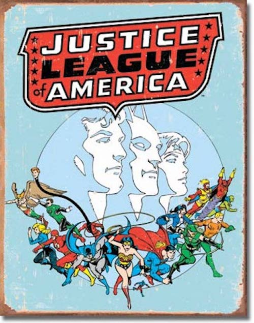 Justice League Retro Tin Sign | Cookie Jar - Home of the Coolest Gifts, Toys & Collectables