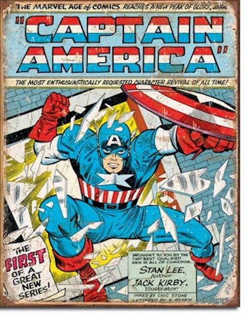 Captain America Comic Retro Tin Sign | Cookie Jar - Home of the Coolest Gifts, Toys & Collectables