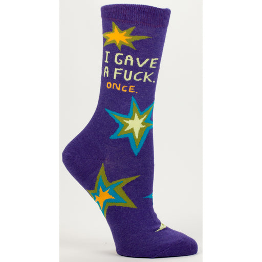 Blue Q - I Gave A Fuck, Once Womens Crew Socks | Cookie Jar - Home of the Coolest Gifts, Toys & Collectables