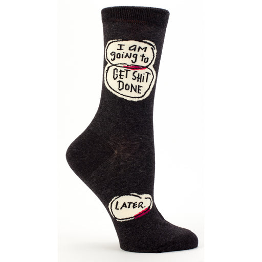 Blue Q - I Am Going To Get Shit Done Later Womens Crew Socks | Cookie Jar - Home of the Coolest Gifts, Toys & Collectables