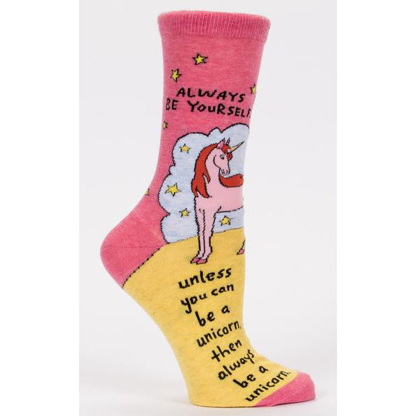 Blue Q - Always Be Yourself. Unless You Can Be A Unicorn Womens Crew Socks | Cookie Jar - Home of the Coolest Gifts, Toys & Collectables