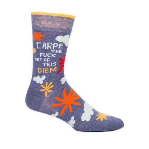 Blue Q - Carpe The F**k Out Of This Diem Mens Crew Socks | Cookie Jar - Home of the Coolest Gifts, Toys & Collectables