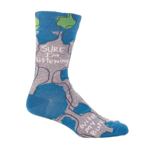 Blue Q - Sure I'm Listening, With My Butt Mens Crew Socks | Cookie Jar - Home of the Coolest Gifts, Toys & Collectables