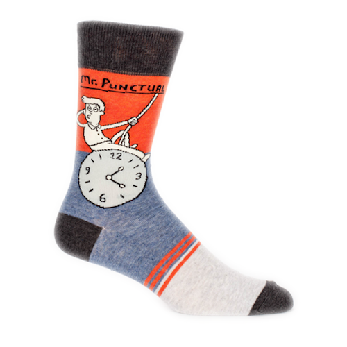 Blue Q - Mr. Punctual Mens Crew Socks | Cookie Jar - Home of the Coolest Gifts, Toys & Collectables