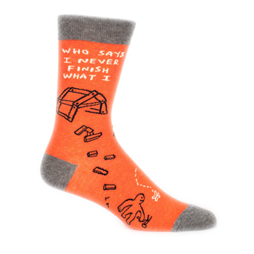 Blue Q - Who Says I Never Finish What I.. Mens Crew Socks | Cookie Jar - Home of the Coolest Gifts, Toys & Collectables