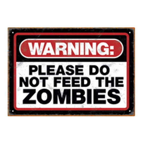 Warning - Zombies Tin Sign | Cookie Jar - Home of the Coolest Gifts, Toys & Collectables