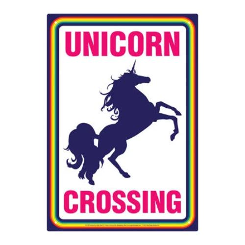 Unicorn Crossing Tin Sign | Cookie Jar - Home of the Coolest Gifts, Toys & Collectables