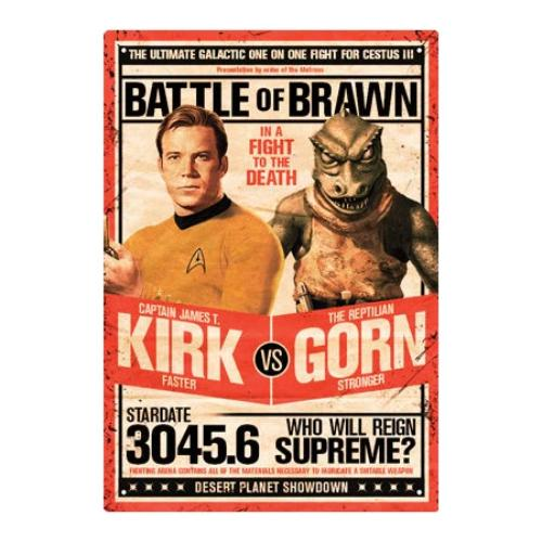 Star Trek Kirk v Gorn Tin Sign | Cookie Jar - Home of the Coolest Gifts, Toys & Collectables