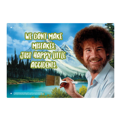 Bob Ross Accidents Tin Sign | Cookie Jar - Home of the Coolest Gifts, Toys & Collectables