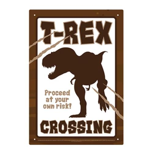 T-Rex Crossing Tin Sign | Cookie Jar - Home of the Coolest Gifts, Toys & Collectables