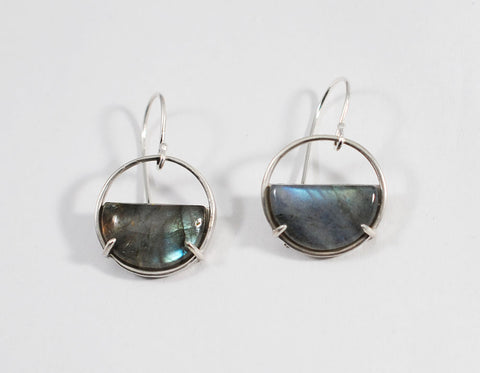 Labradorite Half Circle Earrings