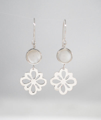 Mother-of-Pearl and Rosette Earrings