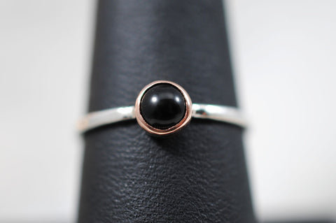Petite Onyx Ring 14k Rose Gold + Sterling Silver