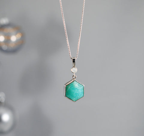 Amazonite Hexagon Necklace