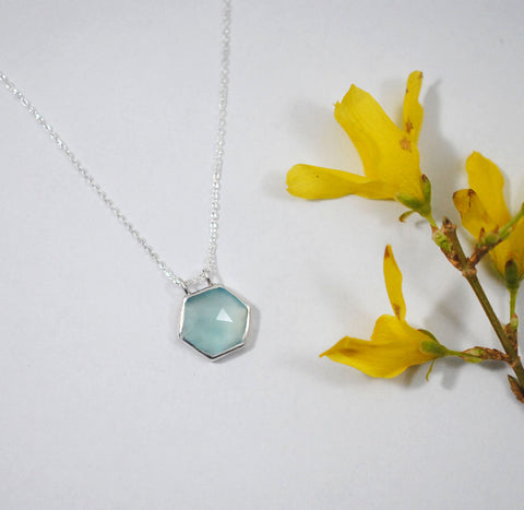 Aqua Chalcedony Hexagon Necklace