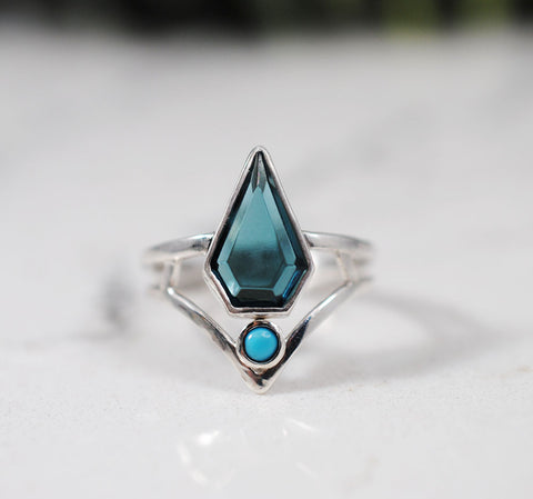 Geometric Ring with London Blue Quartz and Turquoise