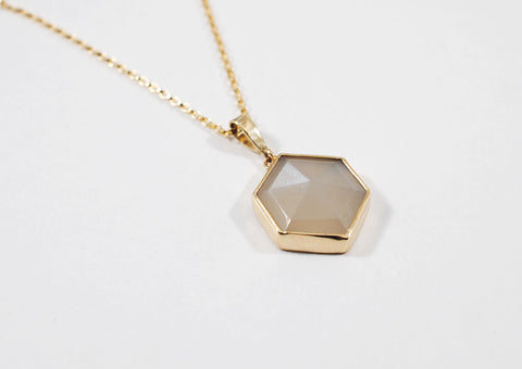 Gray Moonstone Hexagon Necklace
