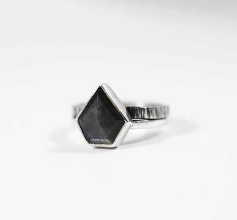 Gray Moonstone Shield Ring