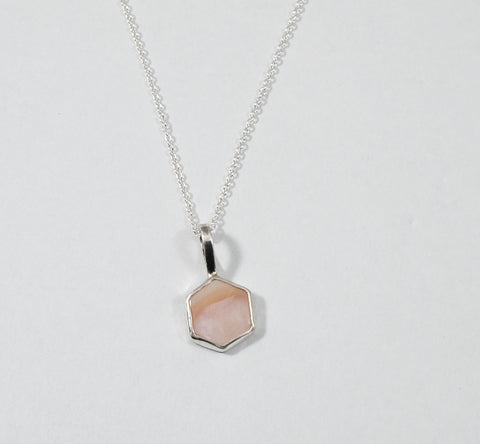 Petite Gemstone Necklace - Pink Mother of Pearl