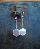 Mother-of-Pearl and Amethyst Drop Earrings